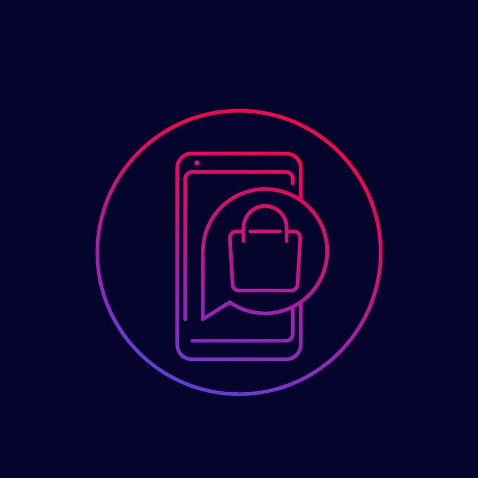 icona di linea del vettore di acquisto mobile ed e-commerce