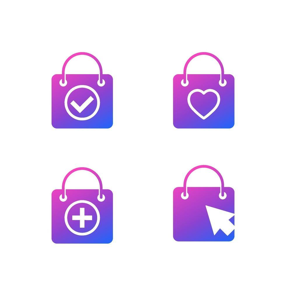 icone dello shopping online con borse, vettore