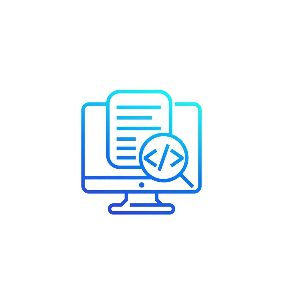 icona di revisione del codice, vettore lineare