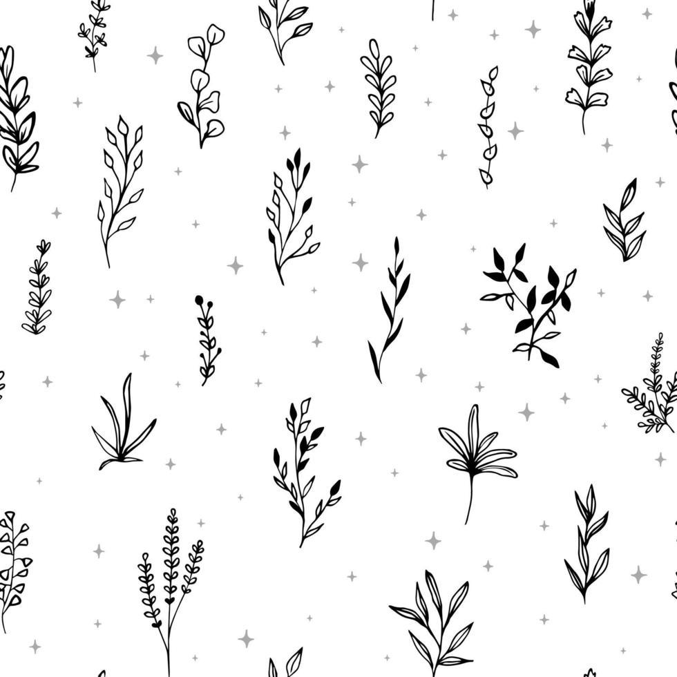 seamless con ramoscelli di schizzo. elementi floreali vettoriali disegnati a mano.