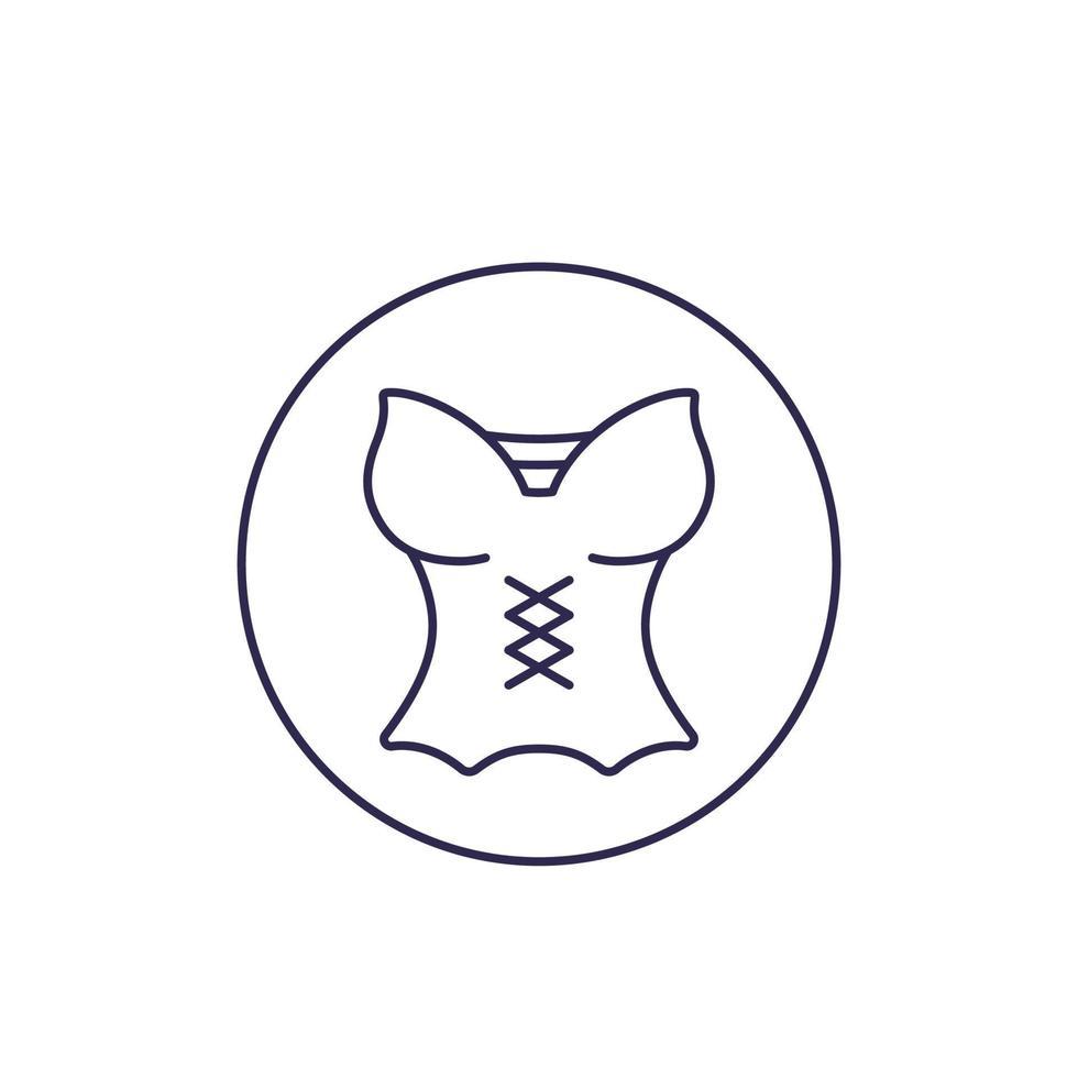 corsetto, icona di lingerie, linea vettoriale
