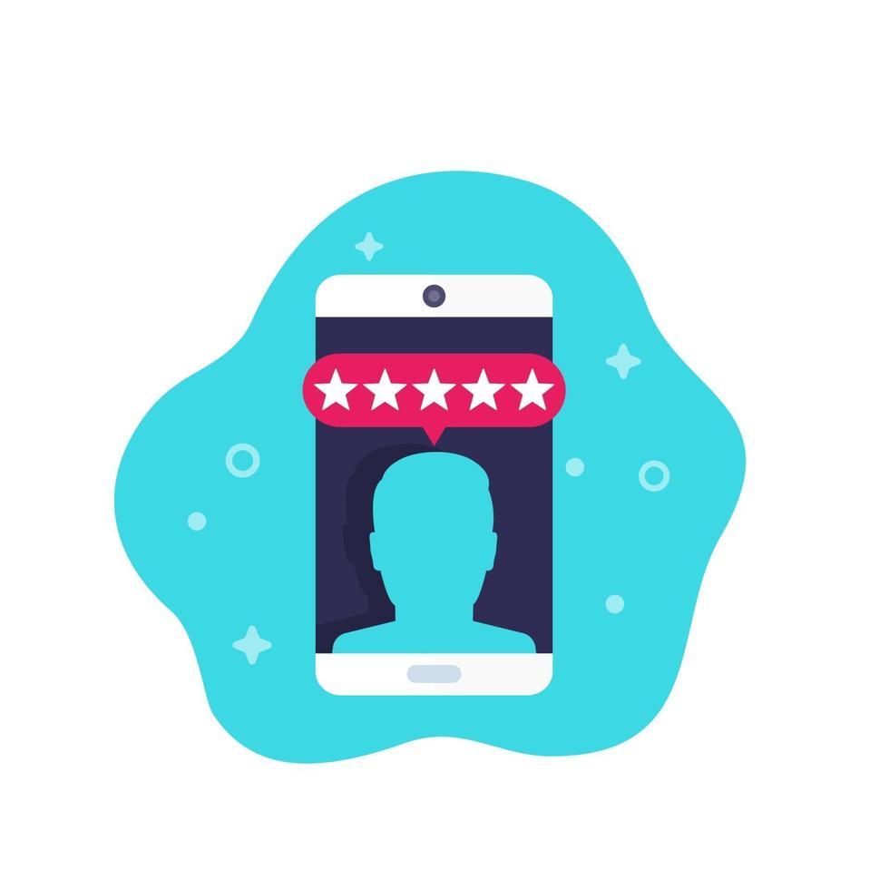 recensione del cliente, icona di vettore di valutazione mobile