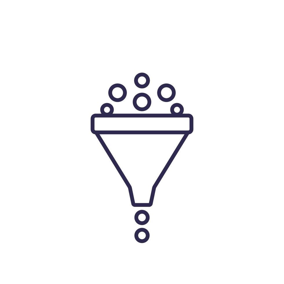 filtro, icona linea vettore