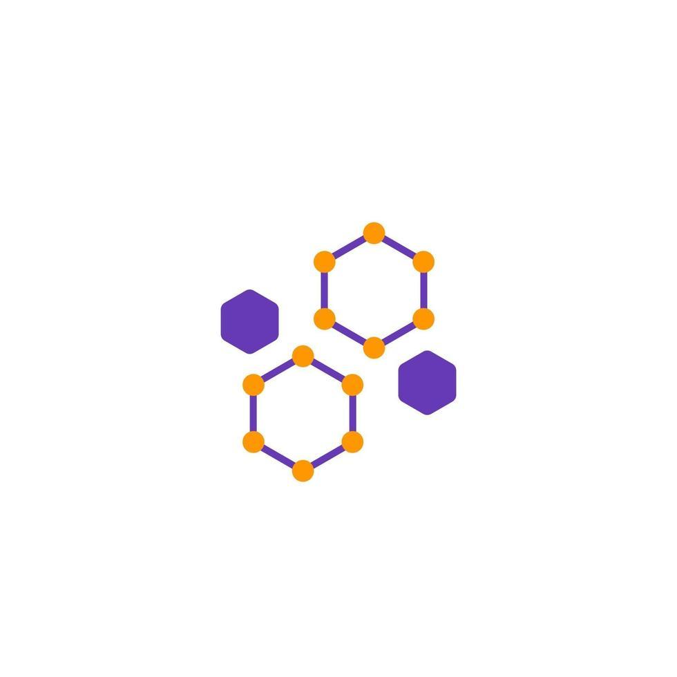 icona di nanoparticelle su bianco, logo vettoriale scienza
