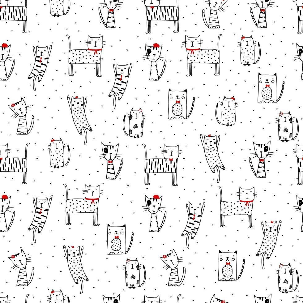 modello divertente senza soluzione di continuità con i gatti di doodle. illustrazione di gattino carino nello stile di abbozzo. sfondo di animali dei cartoni animati. gatti di doodle. stampa per tessuto, carta da parati, carta da imballaggio, tessuto, biancheria da letto, stampa di t-shirt. vettore