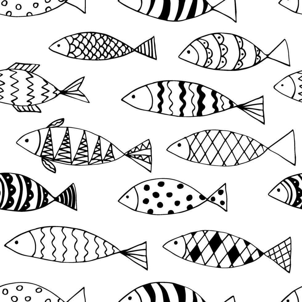 scarabocchi pesce senza soluzione di continuità. divertente stampa monocromatica. vettore
