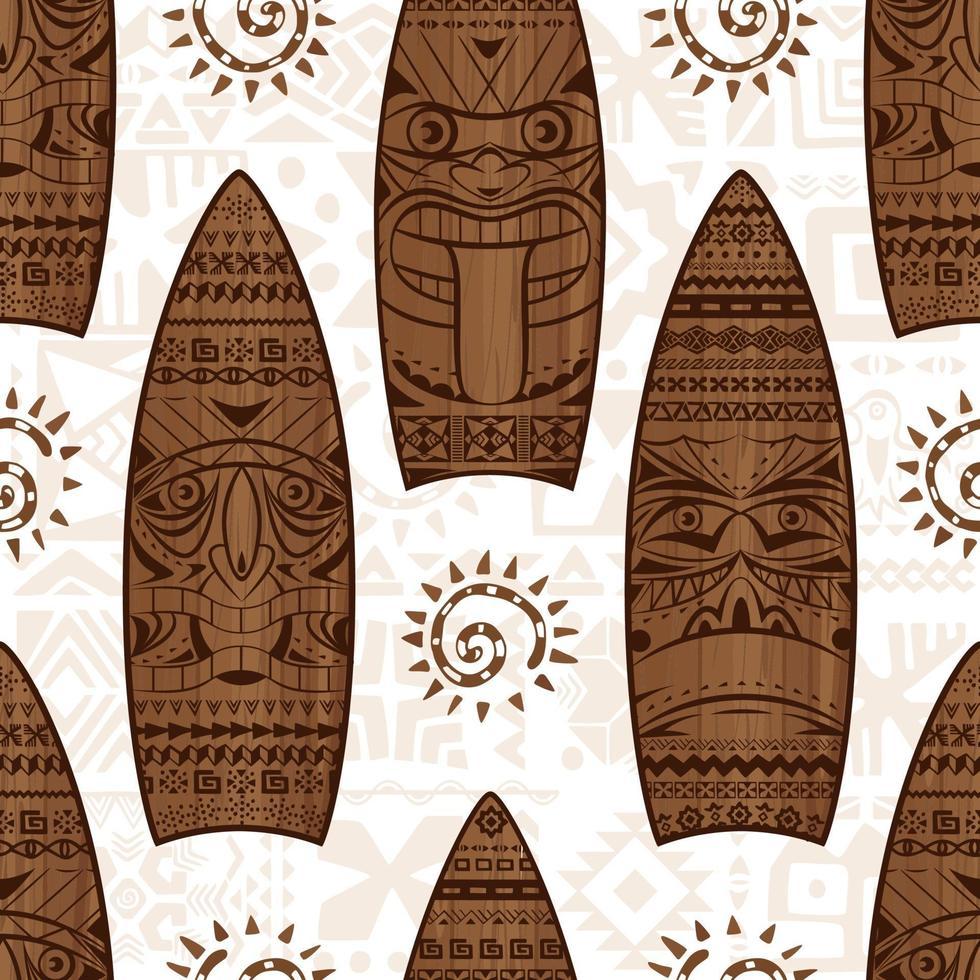tavole da surf in legno e segni vector seamless pattern. modello estivo senza soluzione di continuità. stampa per il design del tessuto.