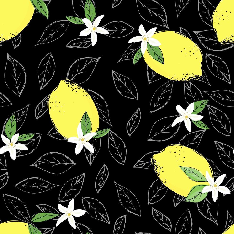 senza soluzione di continuità di schizzo di agrumi. affettare, tagliare pezzi, lobulo, foglie di piante. illustrazione vettoriale isolato su sfondo bianco. disegnato a mano.