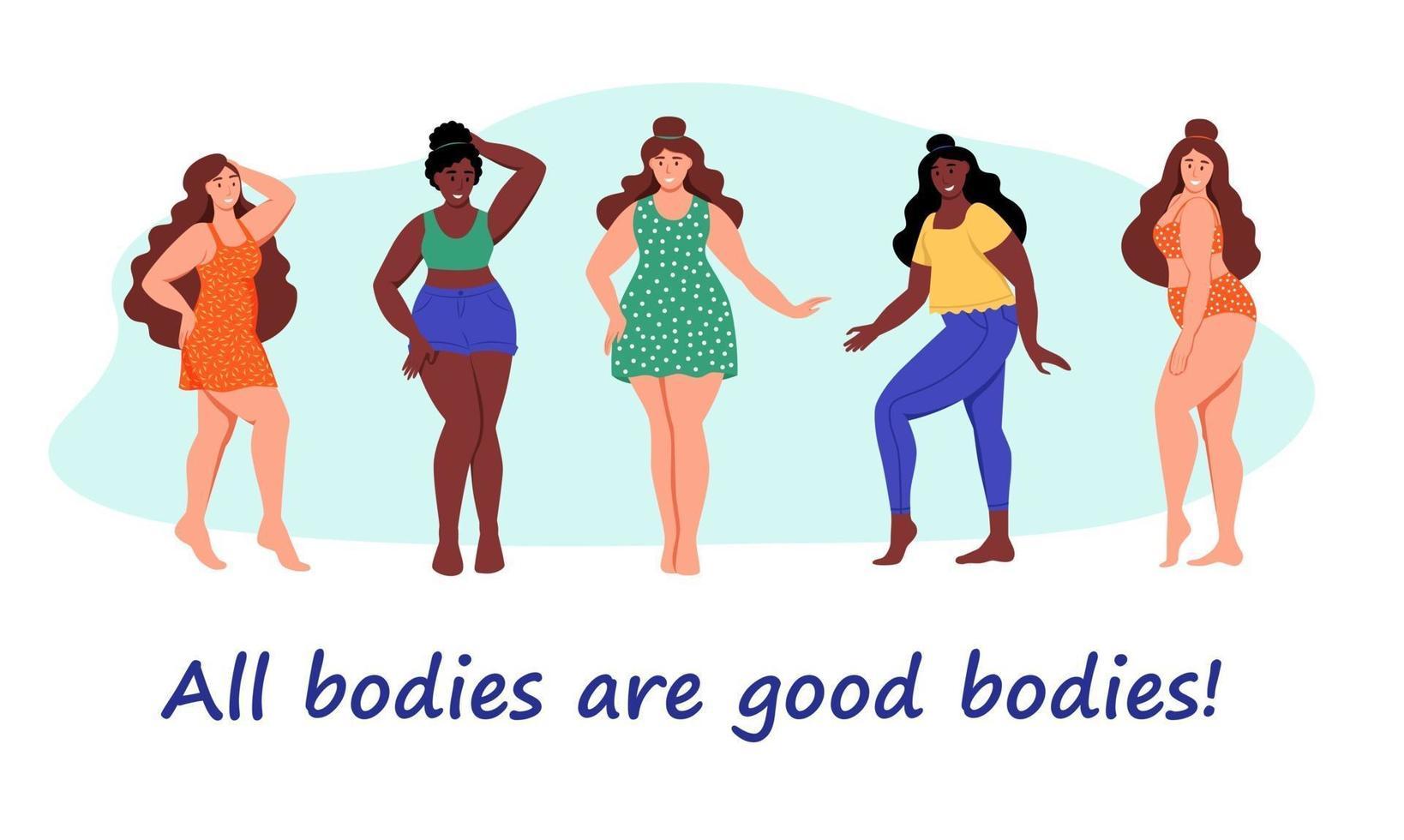 insieme di donne formose. più ragazze di taglia. il concetto di positività del corpo, amor proprio. amo il tuo corpo. illustrazione vettoriale di cartone animato piatto.
