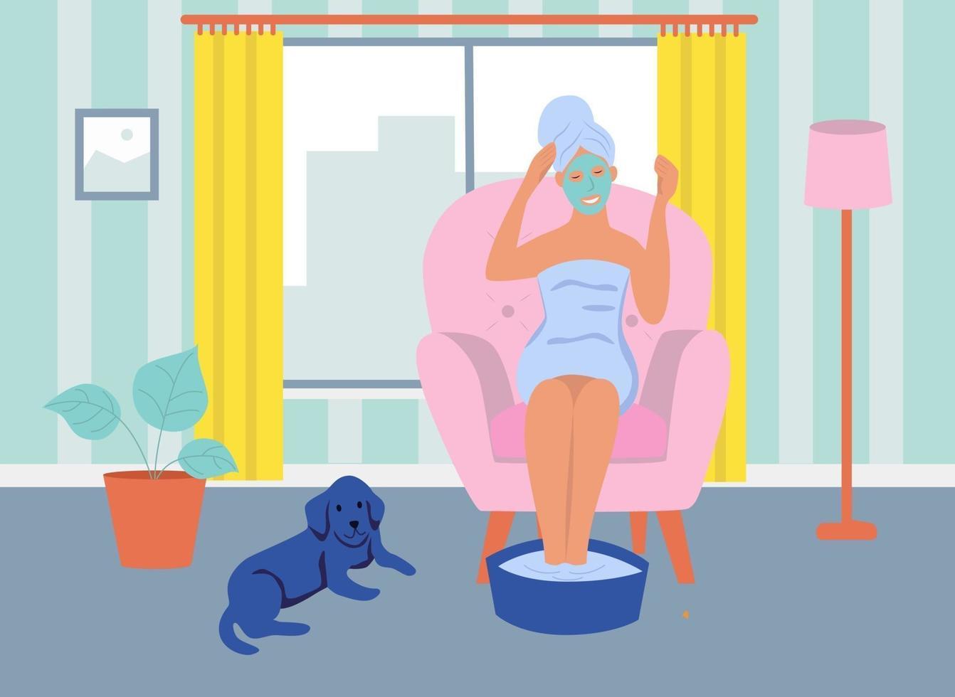 una giovane donna con una maschera cosmetica sul viso è seduta su una sedia. il concetto di home spa, vita quotidiana, tempo libero e attività lavorative quotidiane. illustrazione vettoriale di cartone animato piatto.