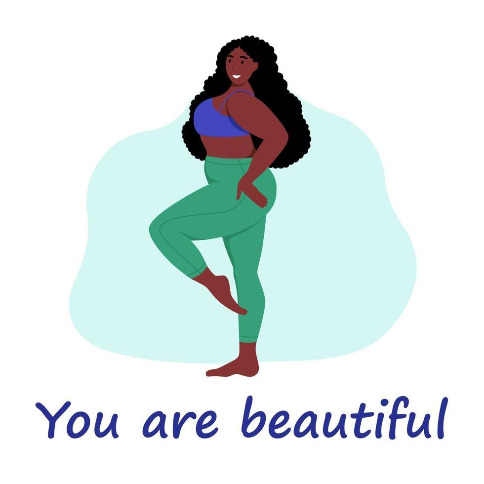 donna formosa. plus size ragazza. il concetto di positività del corpo, amor proprio. amo il tuo corpo. illustrazione vettoriale di cartone animato piatto.