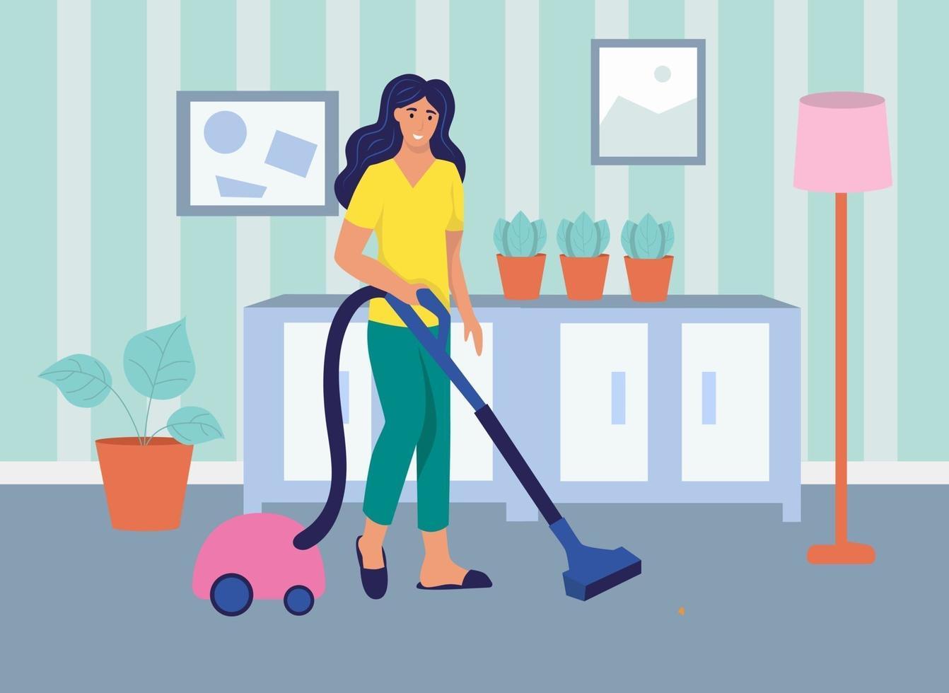 una giovane donna aspira la casa. il concetto di vita quotidiana, tempo libero quotidiano e attività lavorative. illustrazione vettoriale di cartone animato piatto.