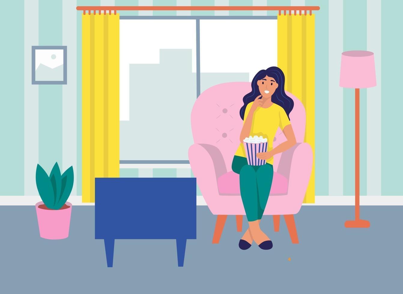 una giovane donna è seduta sul divano, guarda la tv e mangia popcorn. il concetto di vita quotidiana, tempo libero quotidiano e attività lavorative. illustrazione vettoriale di cartone animato piatto.