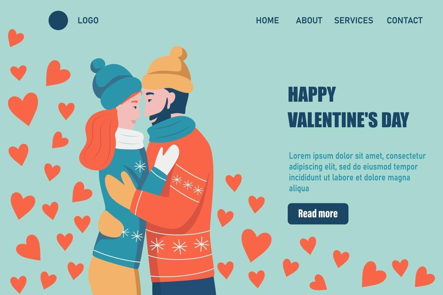 felice modello di vettore della pagina di destinazione di San Valentino. abbracci di coppia amorosa. un appuntamento, un uomo e una donna innamorati festeggiano. illustrazione vettoriale piatta