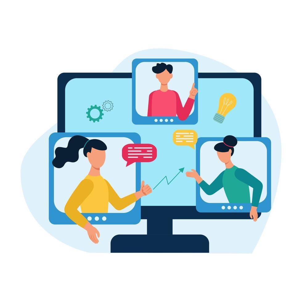 concetto di una riunione in linea, comunicazione. le persone discutono online di idee e temi di lavoro. illustrazione vettoriale di cartone animato piatto