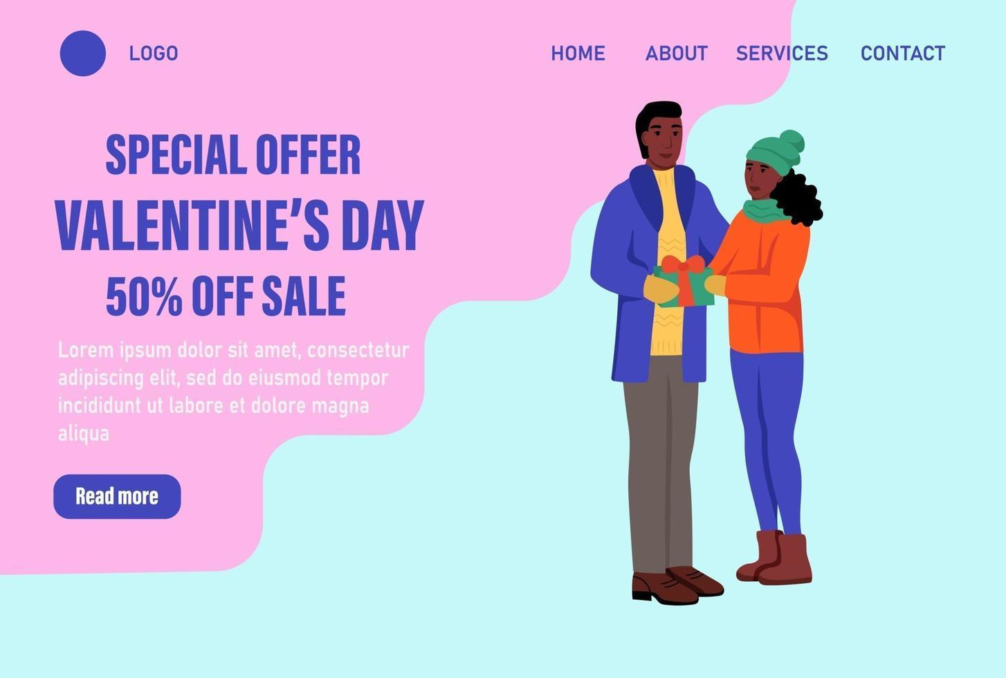 offerta speciale modello di vettore della pagina di destinazione di san valentino. coppia di innamorati in abiti invernali con palloncini scambiano doni. celebrare il tradizionale banner web evento invernale. illustrazione vettoriale piatta