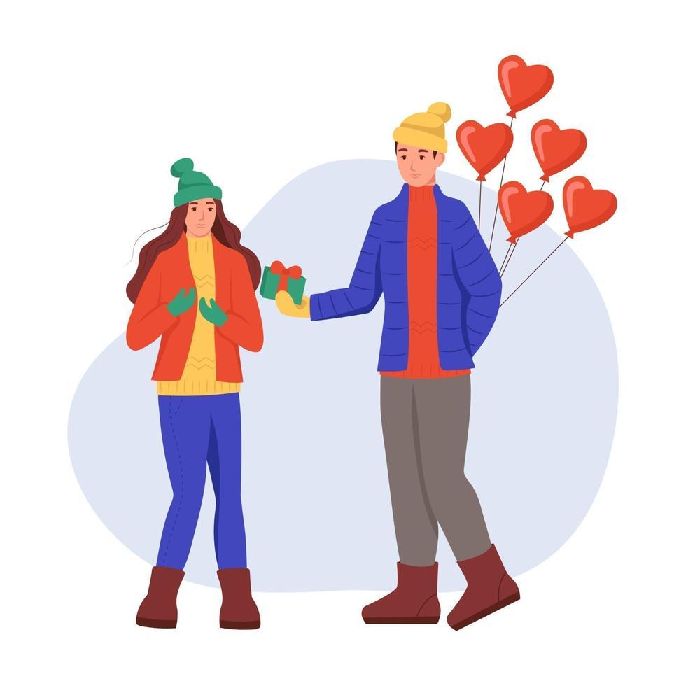 un giovane uomo e una donna in abiti invernali con palloncini e regali in mano. una coppia innamorata si scambia regali. illustrazione vettoriale di cartone animato piatto. San Valentino