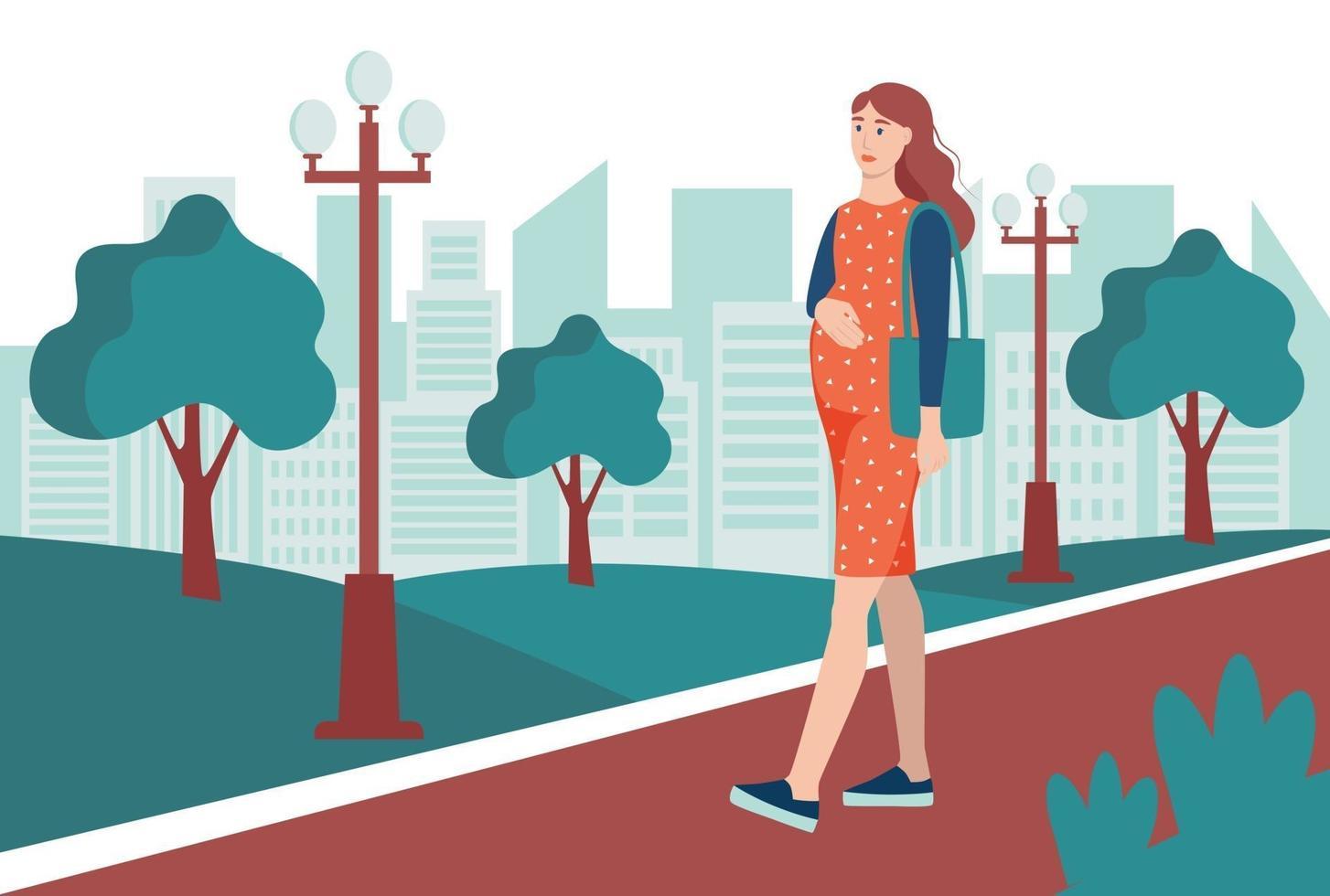 una giovane donna incinta cammina nel parco, cammina per strada. il concetto di attività quotidiane e vita quotidiana. illustrazione vettoriale di cartone animato piatto.