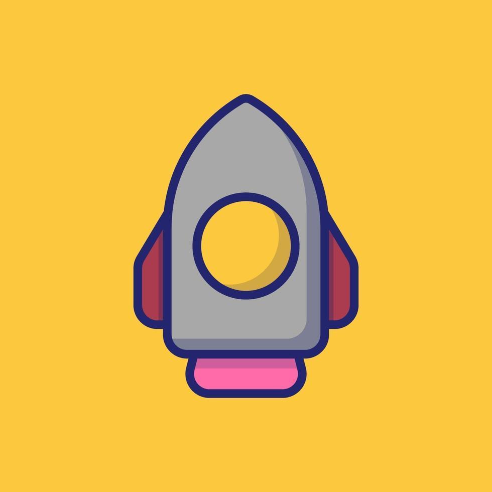illustrazione dell'icona di vettore del razzo. stile cartone animato piatto adatto per pagina di destinazione web, banner, adesivo, sfondo.