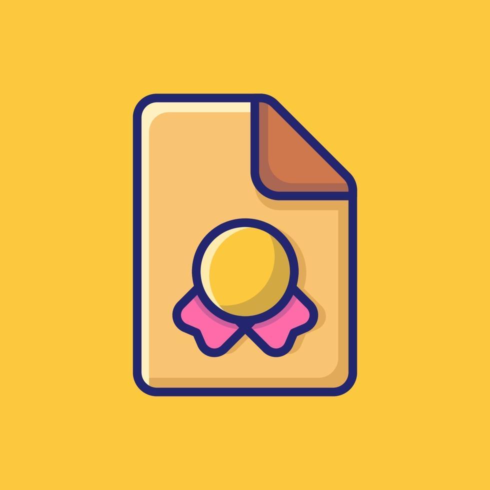 certificato icona vettore illustrazione. stile cartone animato piatto adatto per pagina di destinazione web, banner, adesivo, sfondo.