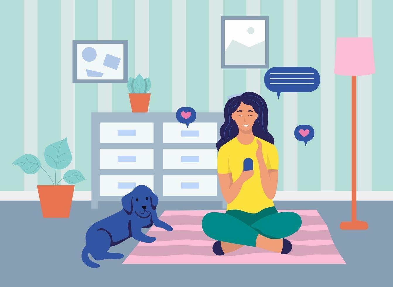 una giovane donna è seduta con un telefono sul pavimento. il concetto di comunicazione online, dipendenza da Internet, vita quotidiana, tempo libero e attività lavorative quotidiane. illustrazione vettoriale di cartone animato piatto.