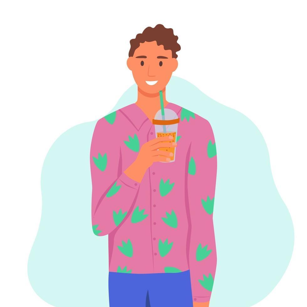 un giovane beve un frullato, un succo fresco, un cocktail. il concetto di una corretta alimentazione, uno stile di vita sano. illustrazione di cartone animato piatto. vettore