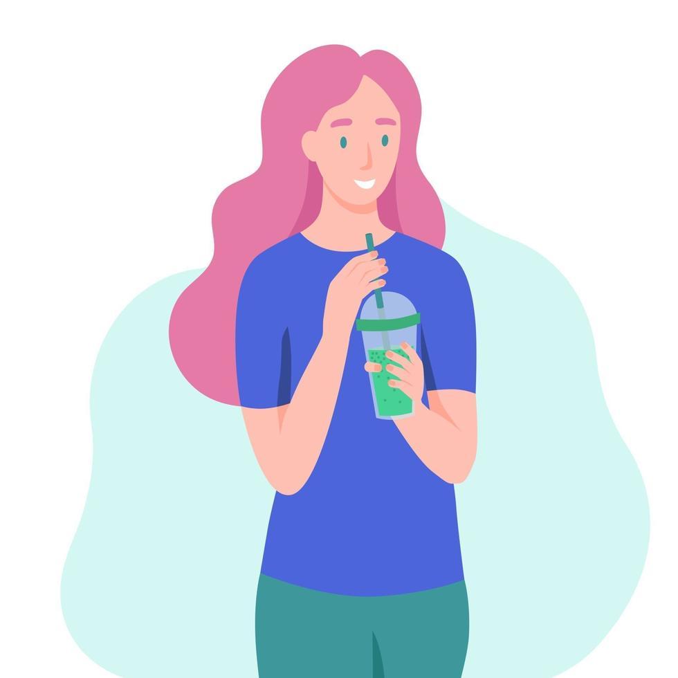 una giovane donna beve un frullato, un succo fresco, un cocktail. il concetto di una corretta alimentazione, uno stile di vita sano. illustrazione di cartone animato piatto. vettore