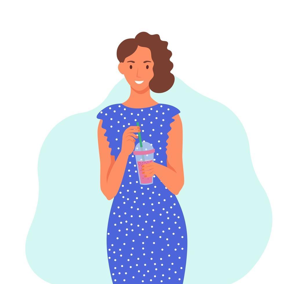 una giovane donna con un vestito blu beve un frullato, un succo di frutta fresco, un cocktail. il concetto di una corretta alimentazione, uno stile di vita sano. illustrazione di cartone animato piatto. vettore