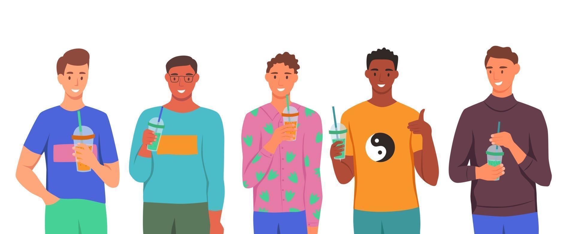 un insieme di caratteri. i giovani bevono frullati, succo di frutta fresco, un cocktail. il concetto di una corretta alimentazione, uno stile di vita sano. illustrazione di cartone animato piatto. vettore