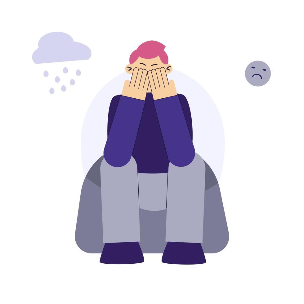 personaggio piatto uomo triste. il giovane frustrato si siede per terra. cuore spezzato, amore infelice. il concetto di frustrazione, depressione, psicoterapia. vettore