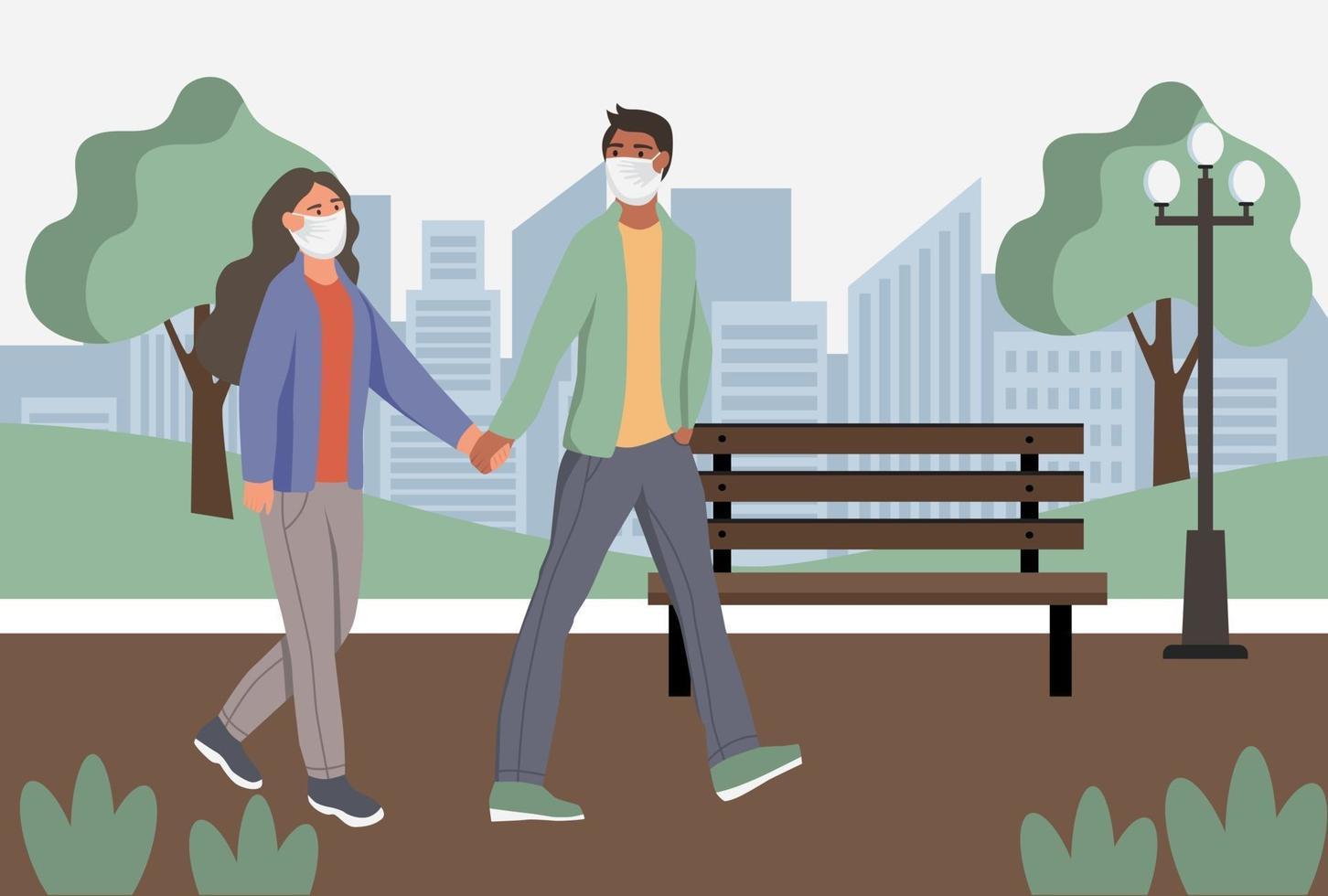 coppia in maschere antipolvere protettive wolk nel parco. protezione dall'inquinamento atmosferico urbano, smog, vapori. quarantena del coronavirus, concetto di virus respiratorio. illustrazione vettoriale di cartone animato piatto.