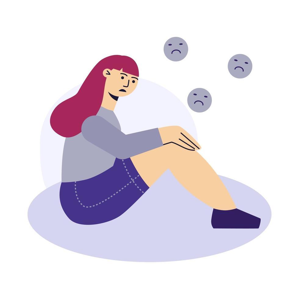 triste giovane donna seduta per terra. una donna che piange. ragazza sconvolta guardando in basso. concetto di psicologia della depressione. illustrazione vettoriale di carattere piatto.