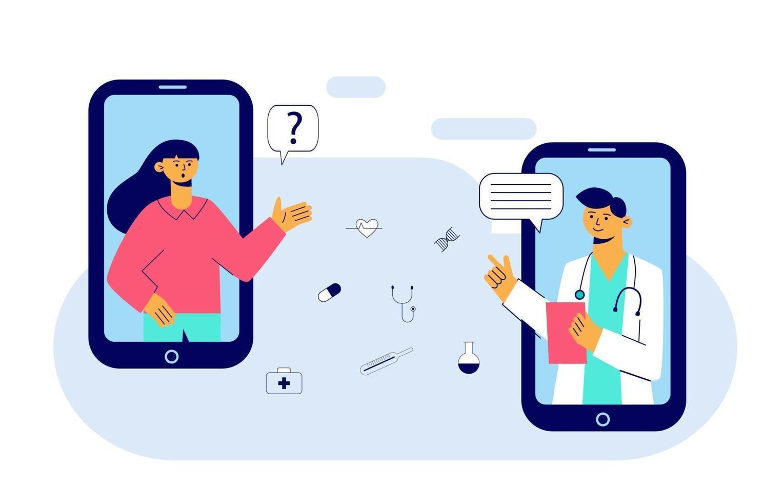 concetto di medicina online e applicazione sanitaria per il sito web. diagnostica medica su Internet. videochiamata medico su uno smartphone. consulto medico in linea. illustrazione vettoriale piatta