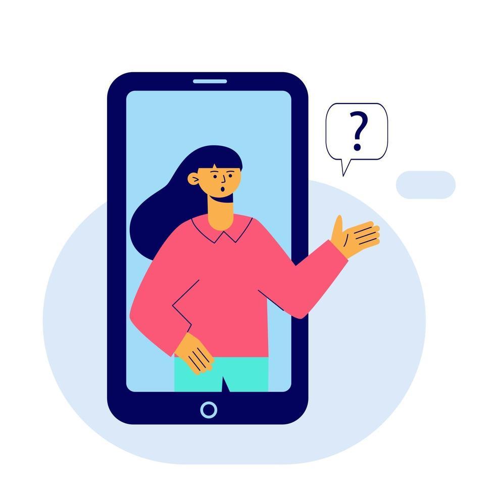 la donna fa una domanda. concetto, app mobile. illustrazione vettoriale piatta.