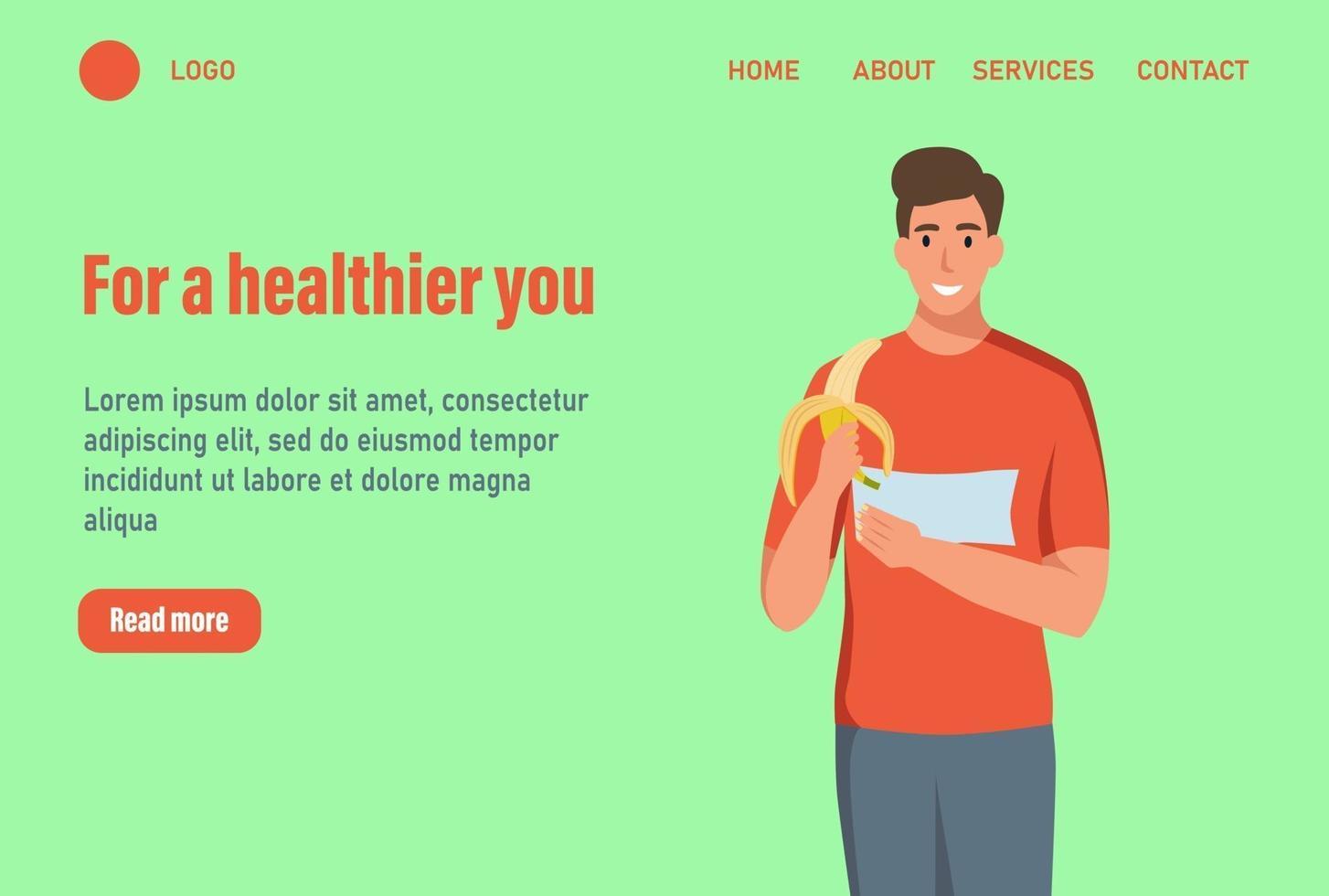 un uomo mangia una banana landing page. il concetto di corretta alimentazione e uno stile di vita sano. modello di pagina web di destinazione della homepage del sito Web. illustrazione di vettore