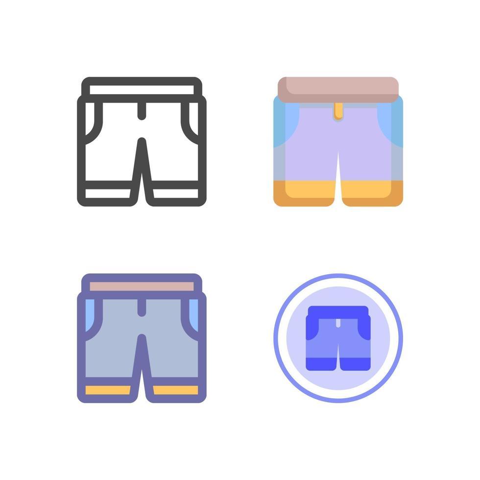 icon pack pantaloncini pantaloni isolato su priorità bassa bianca. per il design del tuo sito web, logo, app, ui. illustrazione grafica vettoriale e tratto modificabile. eps 10.