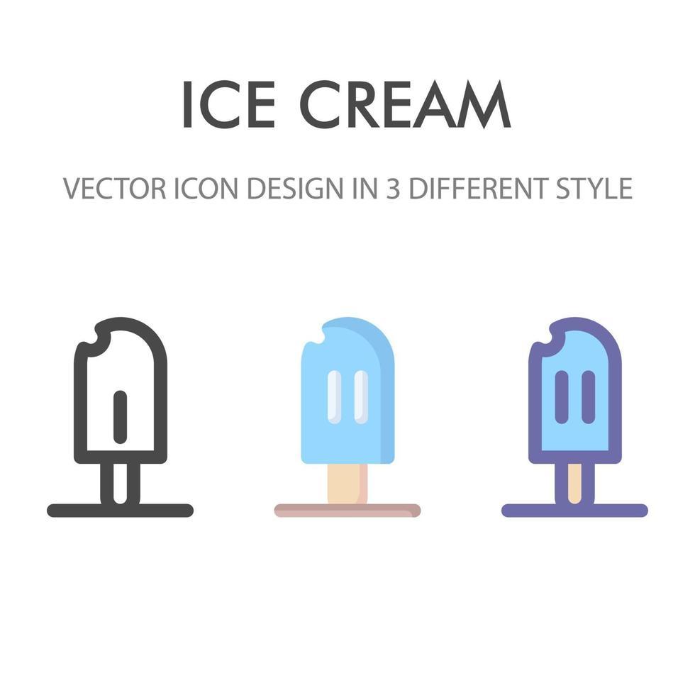 pacchetto di icone di gelato isolato su priorità bassa bianca. per il design del tuo sito web, logo, app, ui. illustrazione grafica vettoriale e tratto modificabile. eps 10.