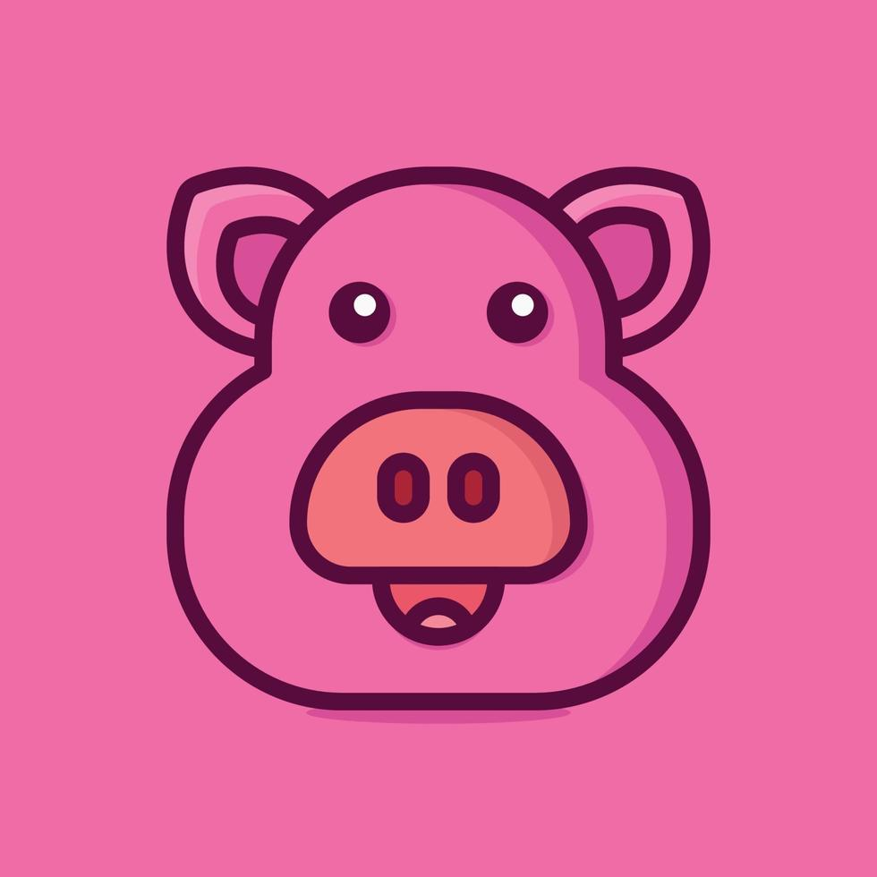 maiale icona vettore illustrazione. stile cartone animato piatto adatto per pagina di destinazione web, banner, adesivo, sfondo.