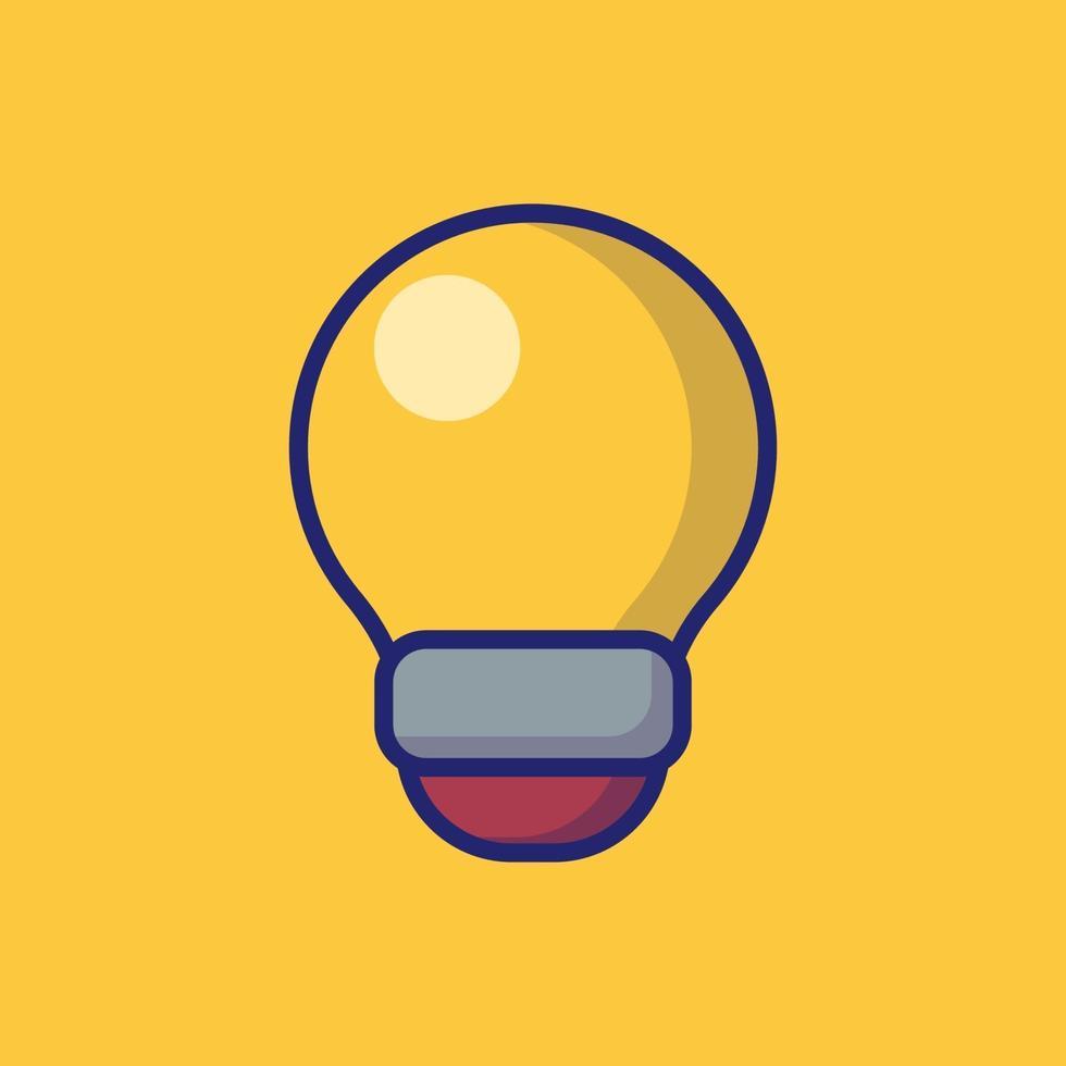 lampadina icona vettore illustrazione. stile cartone animato piatto adatto per pagina di destinazione web, banner, adesivo, sfondo.