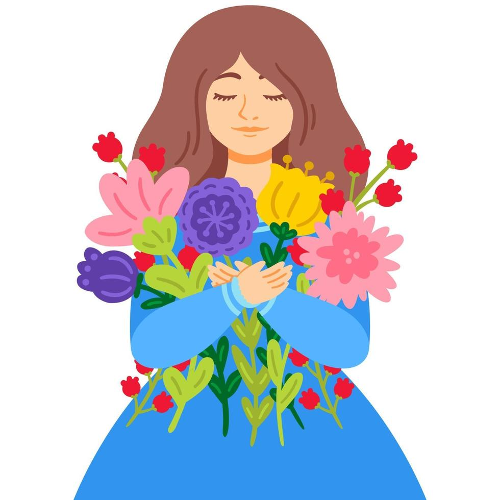 donna in un vestito blu con un mazzo di fiori. festa della mamma. 8 marzo concetto di biglietto di auguri per la giornata internazionale della donna. illustrazione vettoriale isolato su sfondo bianco.