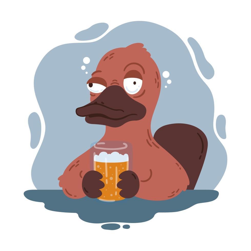 ornitorinco ubriaco con un bicchiere di birra. buffo becco d'anatra nel pub. fauna australiana. illustrazione di cartone animato vettoriale isolato su sfondo bianco.
