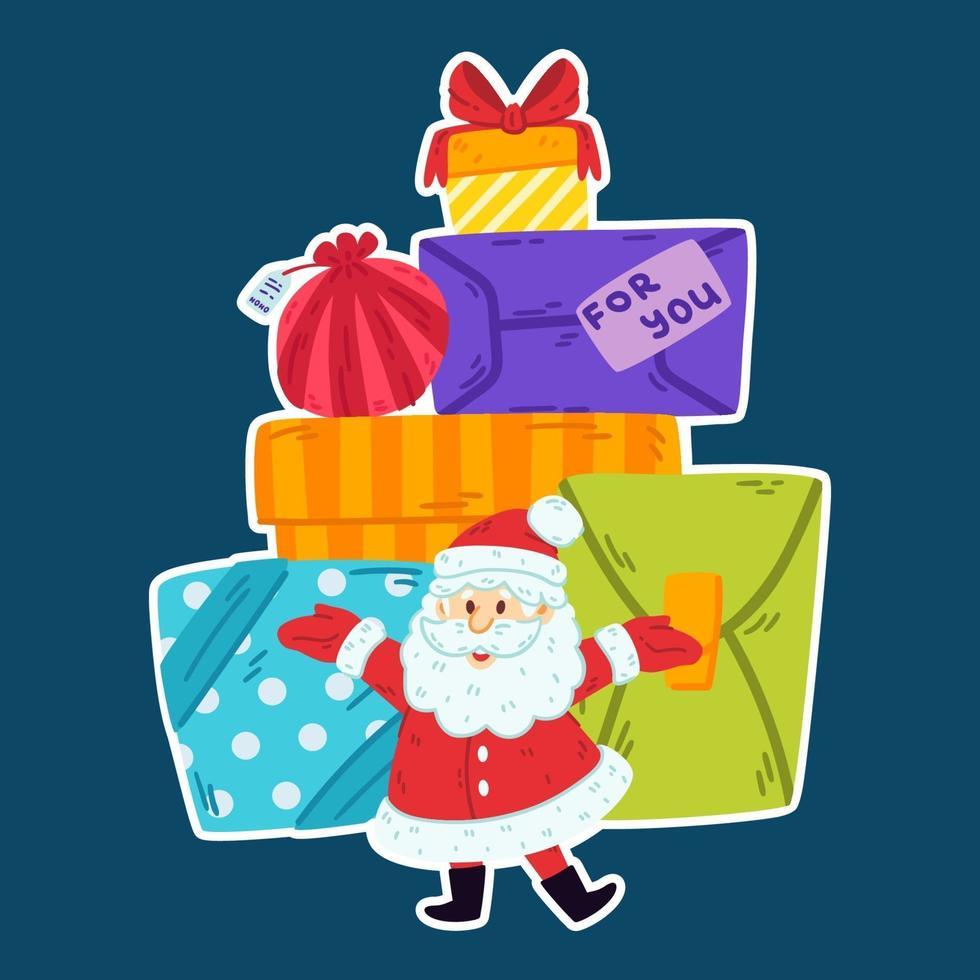 Babbo Natale con una montagna di doni. buon natale e felice anno nuovo biglietto di auguri, poster design. illustrazione vettoriale sfondo isolato. ded moroz. elementi decorativi.