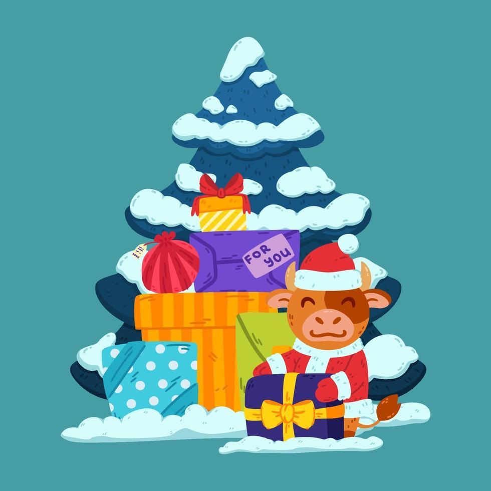 simpatico toro in costume da babbo natale con albero e regali. bue simbolo del capodanno cinese 2021. buon natale e felice anno nuovo biglietto di auguri, poster design. illustrazione vettoriale. vettore