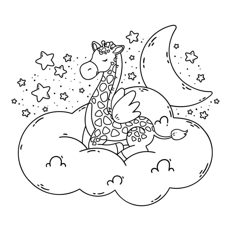 simpatico poster con giraffa, luna, stelle, nuvole su uno sfondo scuro. illustrazione vettoriale per libro da colorare isolato su sfondo bianco. buona notte immagine vivaio.