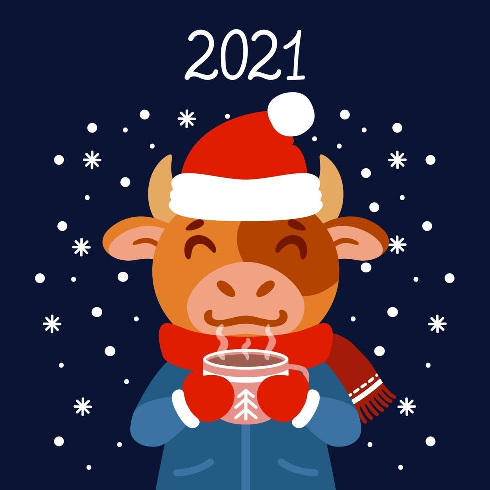 il toro con una tazza di tè in abbigliamento invernale. bue con un cacao in piedi nella neve. il simbolo del capodanno cinese 2021. biglietto di auguri con un topo per il nuovo anno e natale. vettore