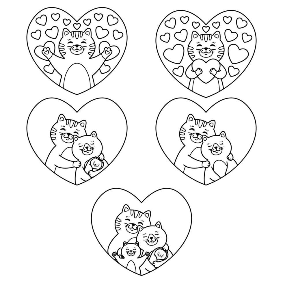 madre di famiglia di gatti, padre, figlio e neonato abbracciano nel cuore. il gatto abbraccia un cuore. insieme di elementi adorabili. illustrazione vettoriale isolato su sfondo bianco. immagine di contorno per la pagina da colorare.