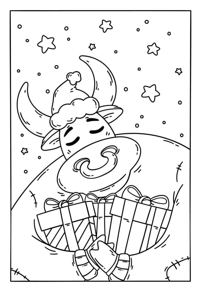 toro in un cappello da Babbo Natale e maglione con doni. anno del bue. mucca felice. capodanno e buon natale illustrazione. simbolo dello zodiaco cinese dell'anno 2021. pagina da colorare per libro per bambini. vettore
