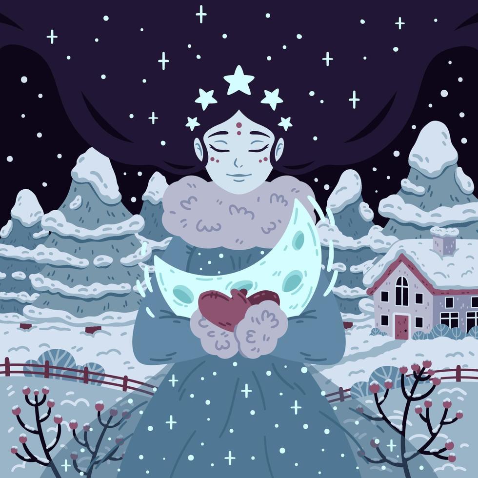 principessa della notte stellata d'inverno con mezzaluna. bella donna con i capelli lunghi sullo sfondo con alberi e casa. illustrazione vettoriale per poster, biglietti di auguri. foto per bambini libro di fiabe.