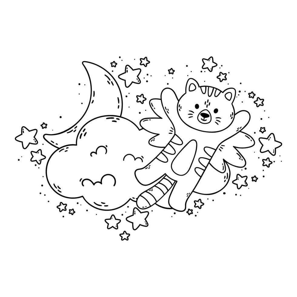 il gatto con le ali vola oltre la nuvola, la luna e le stelle. illustrazione vettoriale per libro da colorare isolato su sfondo bianco. buona notte immagine vivaio.