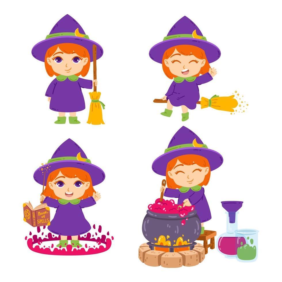 carina piccola strega rossa con scopa, cappello, libro degli incantesimi, bacchetta magica e pentola. la maga sta preparando pozioni. insieme di elementi per halloween. illustrazione vettoriale isolato su sfondo bianco.